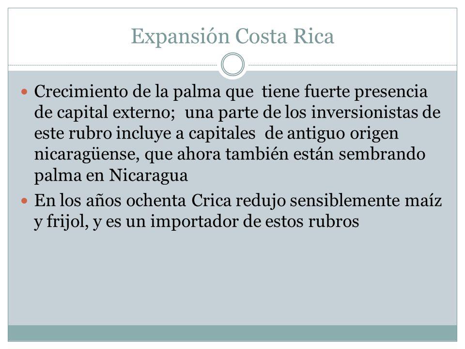 Expansión Costa Rica Crecimiento de la palma que tiene fuerte presencia de capital externo; una parte de los inversionistas de este rubro incluye a ca