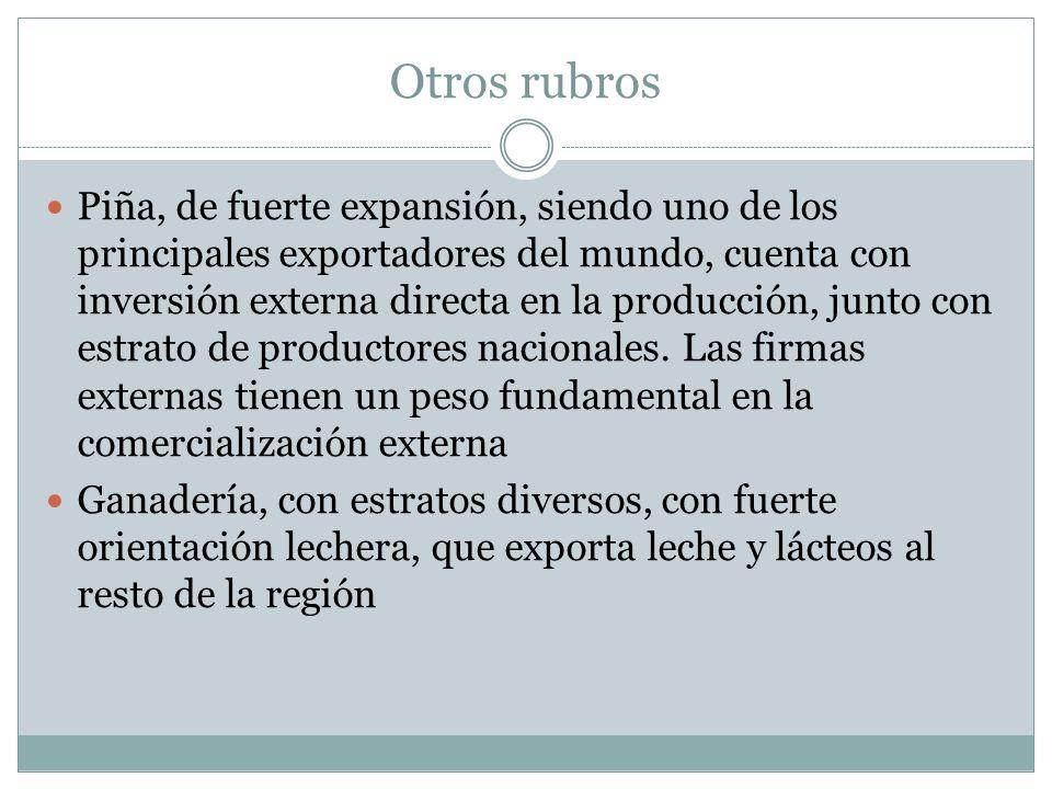 Otros rubros Piña, de fuerte expansión, siendo uno de los principales exportadores del mundo, cuenta con inversión externa directa en la producción, j