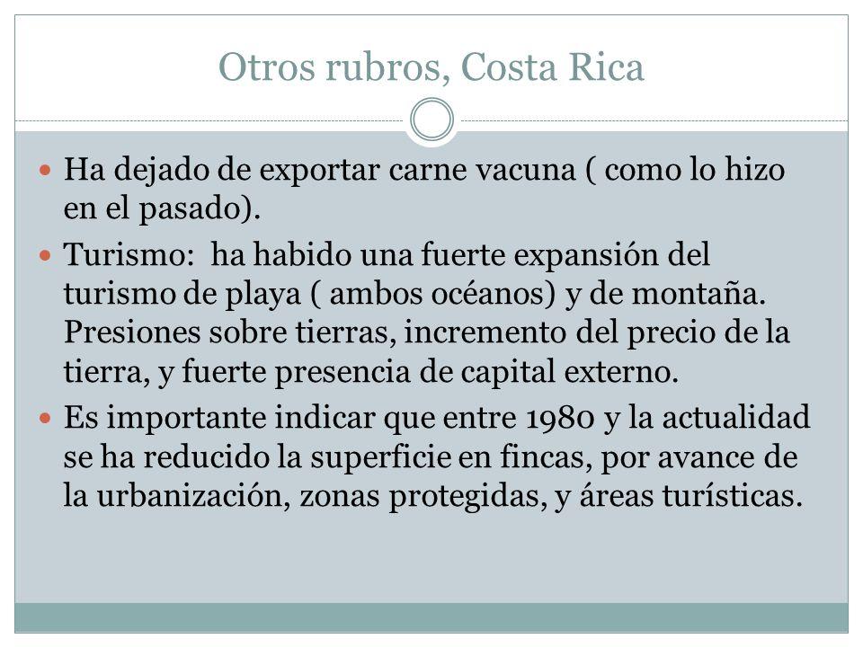 Otros rubros, Costa Rica Ha dejado de exportar carne vacuna ( como lo hizo en el pasado). Turismo: ha habido una fuerte expansión del turismo de playa