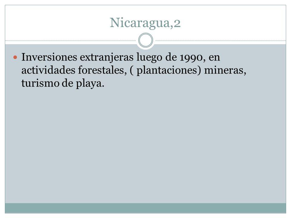 Nicaragua,2 Inversiones extranjeras luego de 1990, en actividades forestales, ( plantaciones) mineras, turismo de playa.