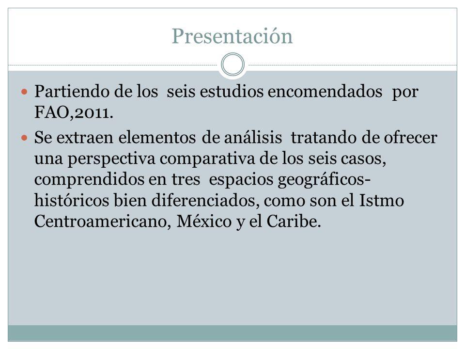 Presentación Partiendo de los seis estudios encomendados por FAO,2011. Se extraen elementos de análisis tratando de ofrecer una perspectiva comparativ