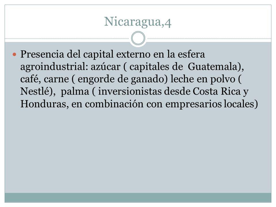 Nicaragua,4 Presencia del capital externo en la esfera agroindustrial: azúcar ( capitales de Guatemala), café, carne ( engorde de ganado) leche en pol