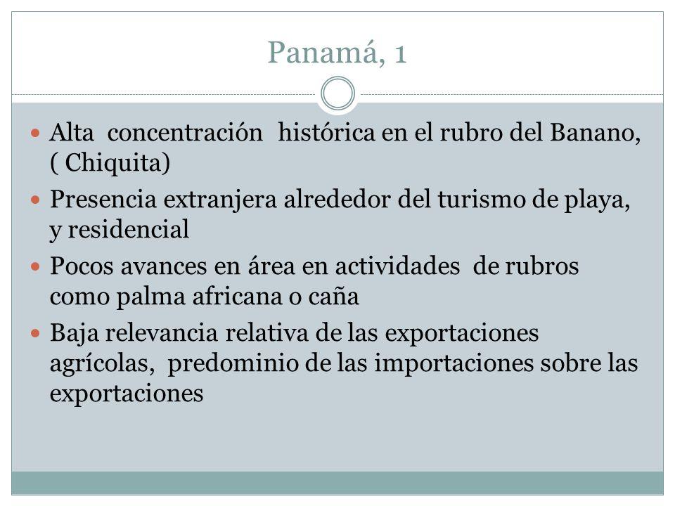 Panamá, 1 Alta concentración histórica en el rubro del Banano, ( Chiquita) Presencia extranjera alrededor del turismo de playa, y residencial Pocos av