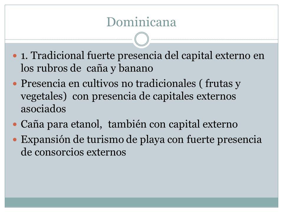 Dominicana 1. Tradicional fuerte presencia del capital externo en los rubros de caña y banano Presencia en cultivos no tradicionales ( frutas y vegeta