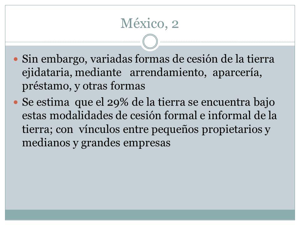 México, 2 Sin embargo, variadas formas de cesión de la tierra ejidataria, mediante arrendamiento, aparcería, préstamo, y otras formas Se estima que el