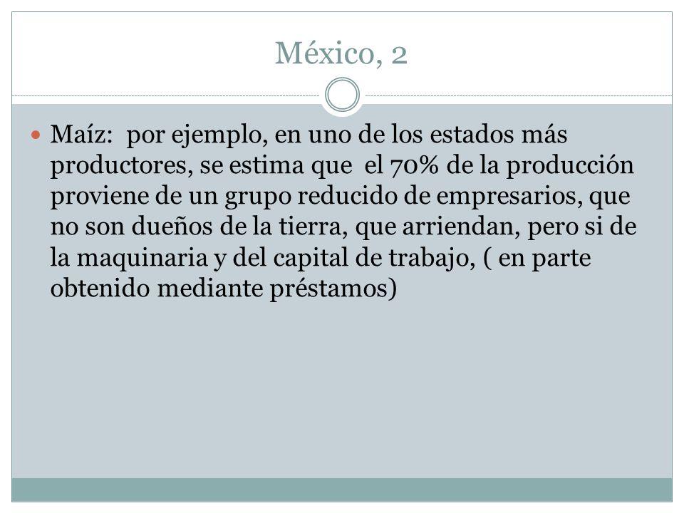 México, 2 Maíz: por ejemplo, en uno de los estados más productores, se estima que el 70% de la producción proviene de un grupo reducido de empresarios