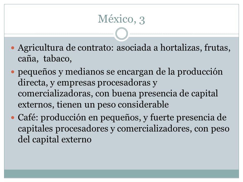 México, 3 Agricultura de contrato: asociada a hortalizas, frutas, caña, tabaco, pequeños y medianos se encargan de la producción directa, y empresas p