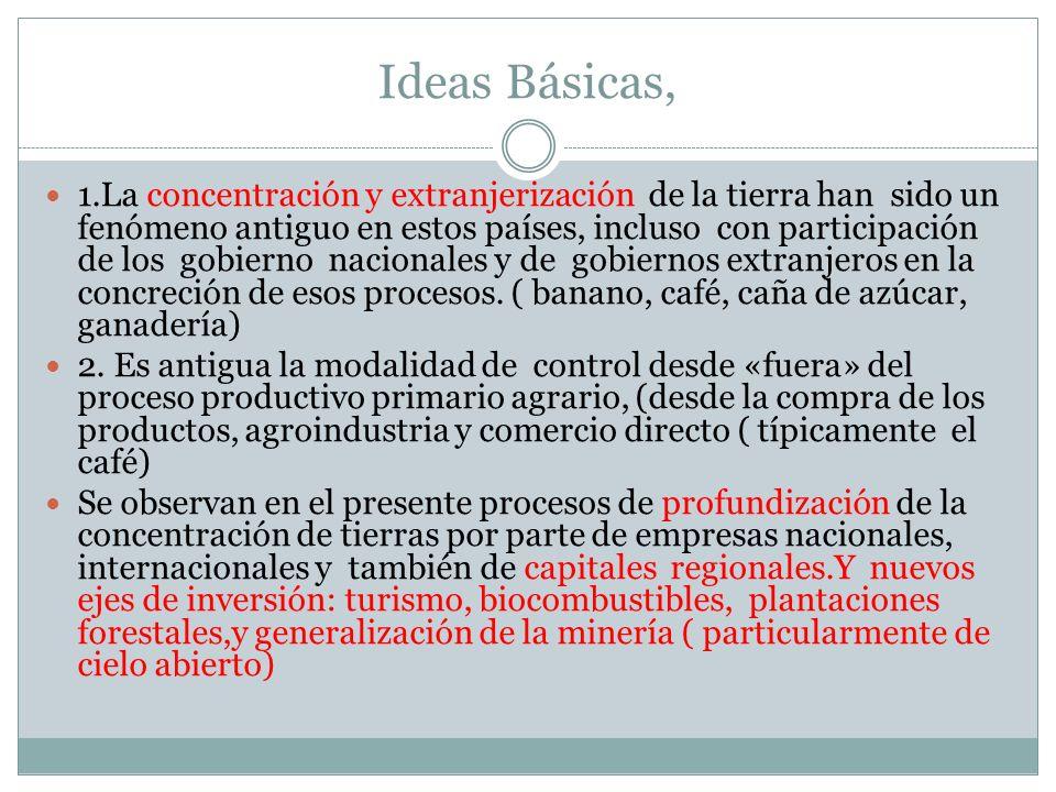 Ideas Básicas, 1.La concentración y extranjerización de la tierra han sido un fenómeno antiguo en estos países, incluso con participación de los gobie