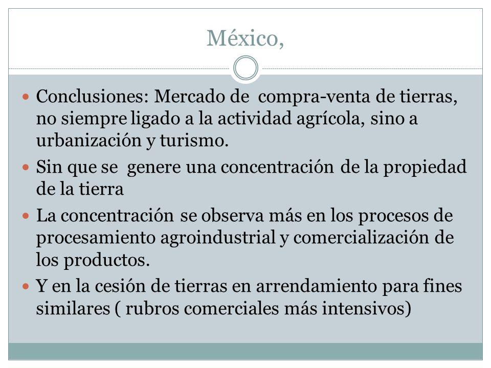 México, Conclusiones: Mercado de compra-venta de tierras, no siempre ligado a la actividad agrícola, sino a urbanización y turismo. Sin que se genere