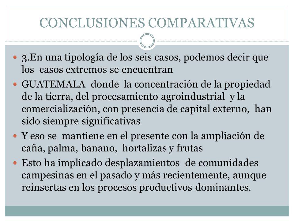 CONCLUSIONES COMPARATIVAS 3.En una tipología de los seis casos, podemos decir que los casos extremos se encuentran GUATEMALA donde la concentración de