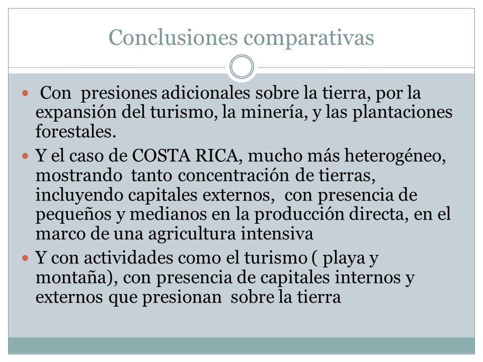 Conclusiones comparativas Con presiones adicionales sobre la tierra, por la expansión del turismo, la minería, y las plantaciones forestales. Y el cas