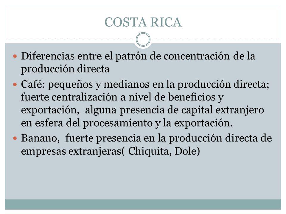 COSTA RICA Diferencias entre el patrón de concentración de la producción directa Café: pequeños y medianos en la producción directa; fuerte centraliza