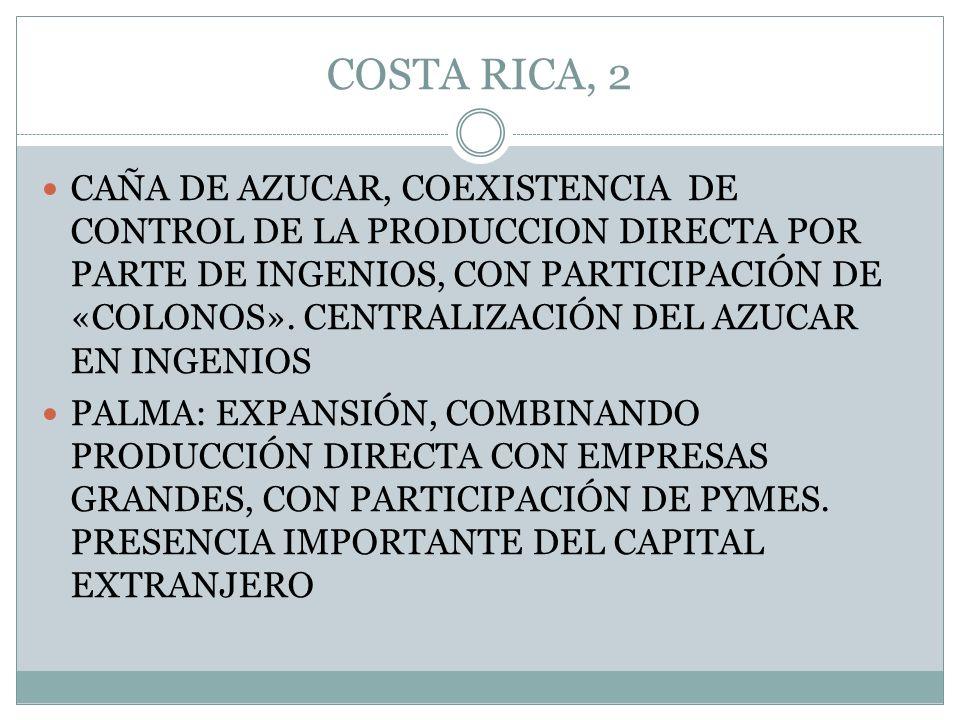 COSTA RICA, 2 CAÑA DE AZUCAR, COEXISTENCIA DE CONTROL DE LA PRODUCCION DIRECTA POR PARTE DE INGENIOS, CON PARTICIPACIÓN DE «COLONOS». CENTRALIZACIÓN D
