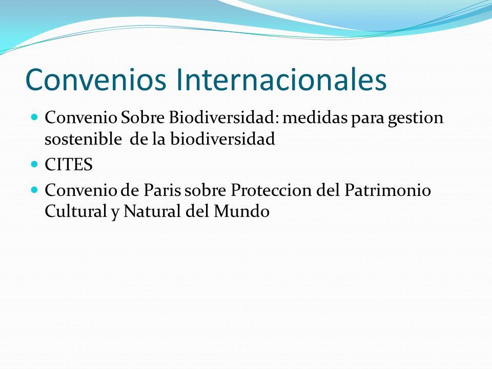 Convenios Internacionales Convenio Sobre Biodiversidad: medidas para gestion sostenible de la biodiversidad CITES Convenio de Paris sobre Proteccion d