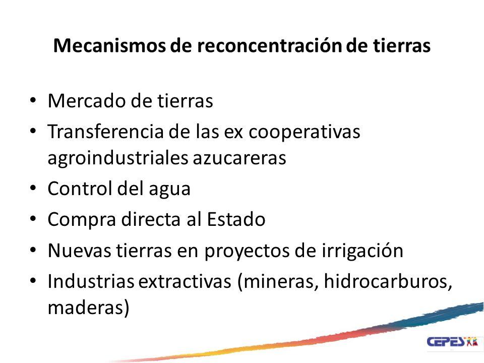 Mecanismos de reconcentración de tierras Mercado de tierras Transferencia de las ex cooperativas agroindustriales azucareras Control del agua Compra d