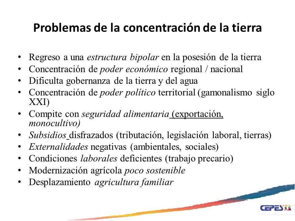 Problemas de la concentración de la tierra Regreso a una estructura bipolar en la posesión de la tierra Concentración de poder económico regional / na