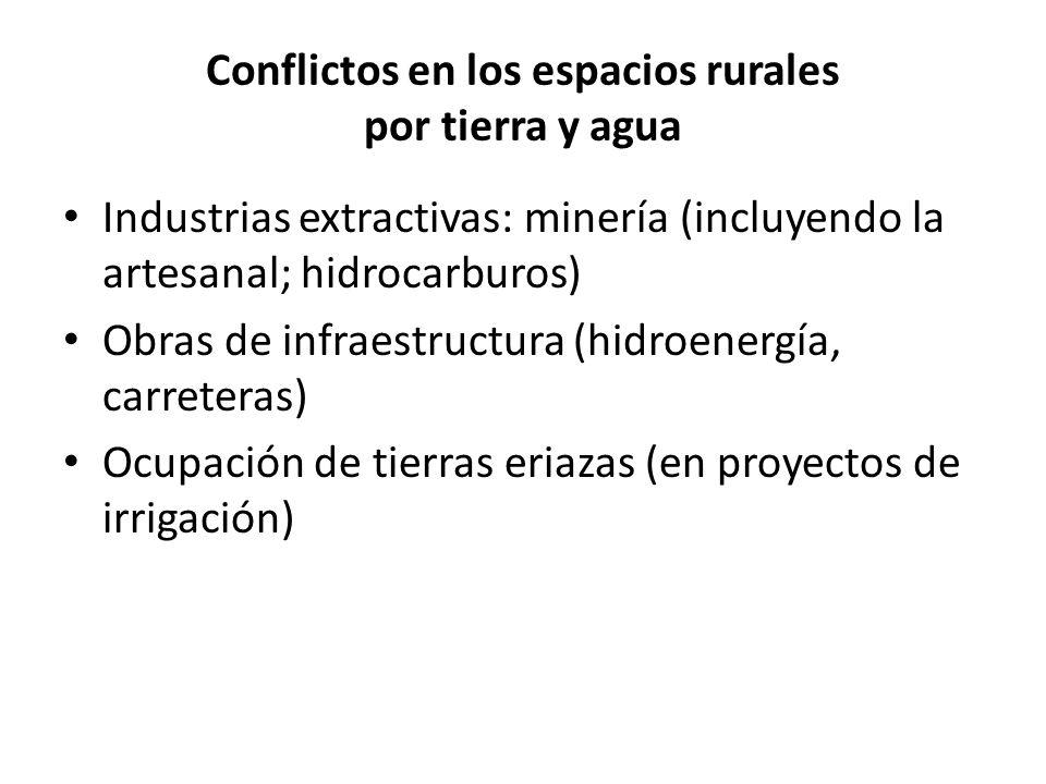 Conflictos en los espacios rurales por tierra y agua Industrias extractivas: minería (incluyendo la artesanal; hidrocarburos) Obras de infraestructura