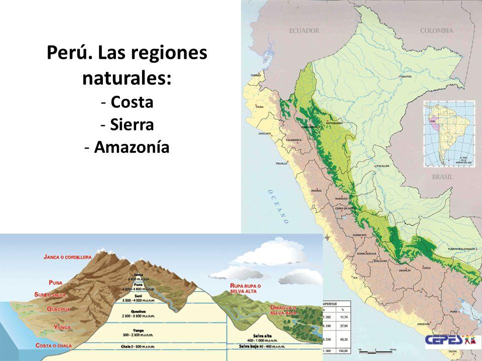 Perú. Las regiones naturales: - Costa - Sierra - Amazonía