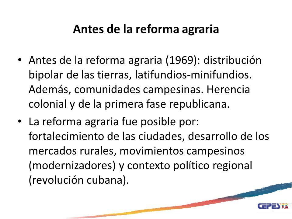 Antes de la reforma agraria Antes de la reforma agraria (1969): distribución bipolar de las tierras, latifundios-minifundios. Además, comunidades camp