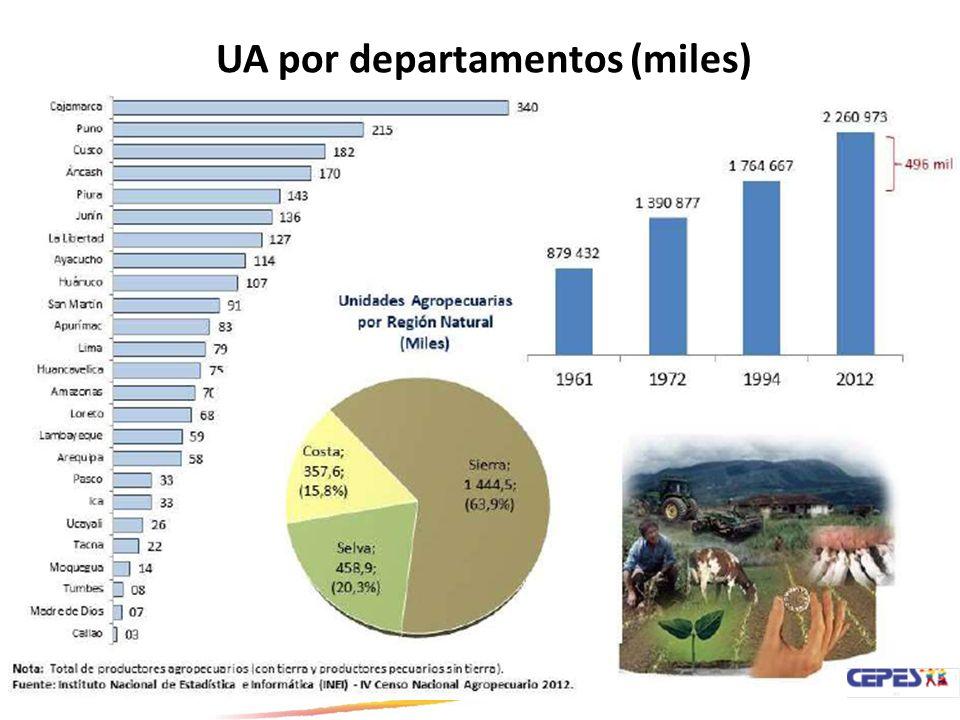 UA por departamentos (miles)