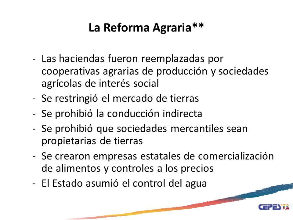 La Reforma Agraria** -Las haciendas fueron reemplazadas por cooperativas agrarias de producción y sociedades agrícolas de interés social -Se restringi