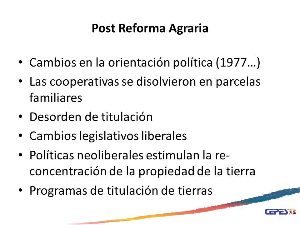 Post Reforma Agraria Cambios en la orientación política (1977…) Las cooperativas se disolvieron en parcelas familiares Desorden de titulación Cambios