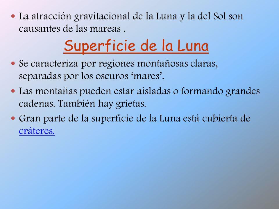 La atracción gravitacional de la Luna y la del Sol son causantes de las mareas. Superficie de la Luna Se caracteriza por regiones montañosas claras, s