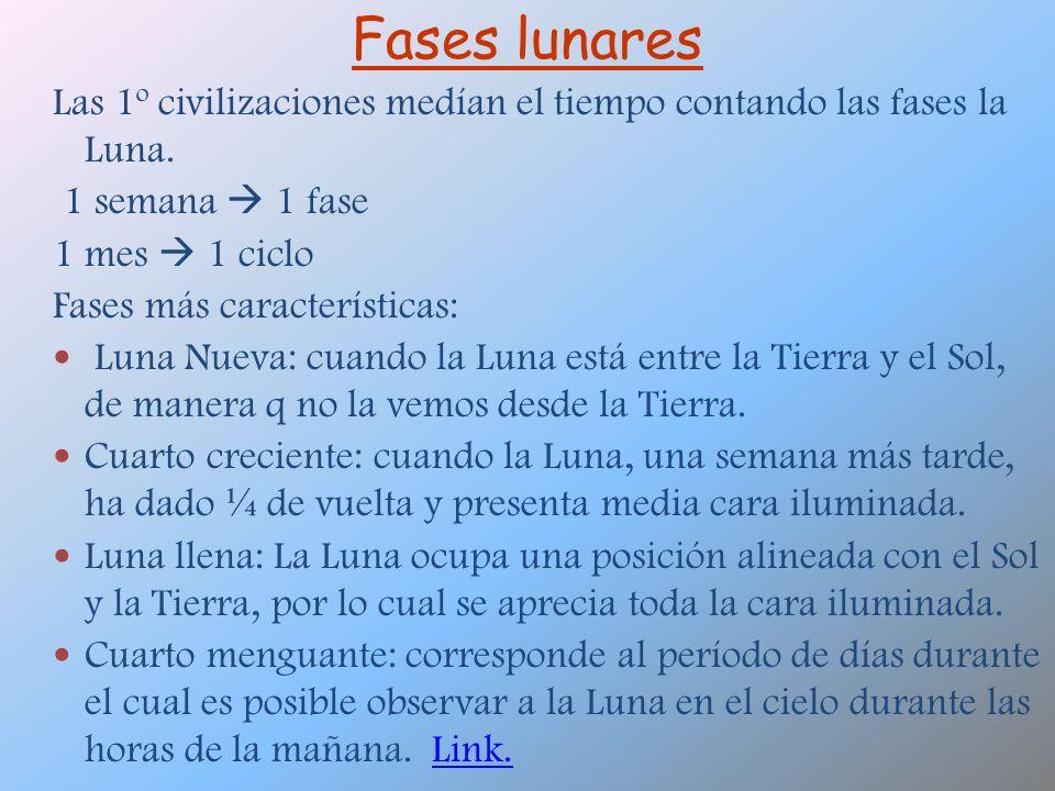 Fases lunares Las 1º civilizaciones medían el tiempo contando las fases la Luna. 1 semana 1 fase 1 mes 1 ciclo Fases más características: Luna Nueva:
