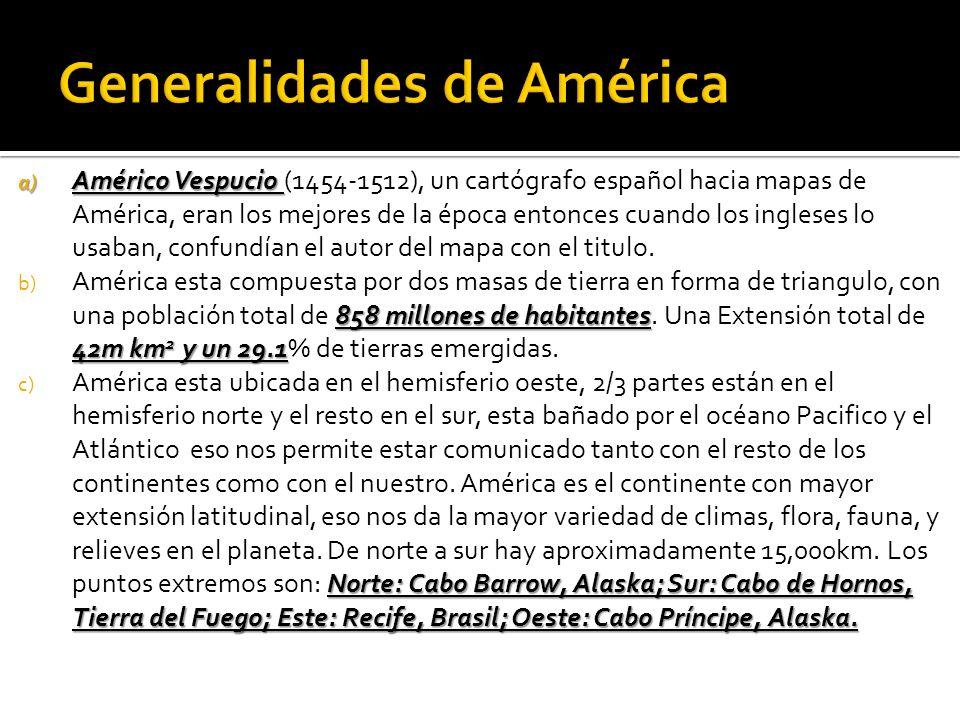 a) Américo Vespucio a) Américo Vespucio (1454-1512), un cartógrafo español hacia mapas de América, eran los mejores de la época entonces cuando los ingleses lo usaban, confundían el autor del mapa con el titulo.