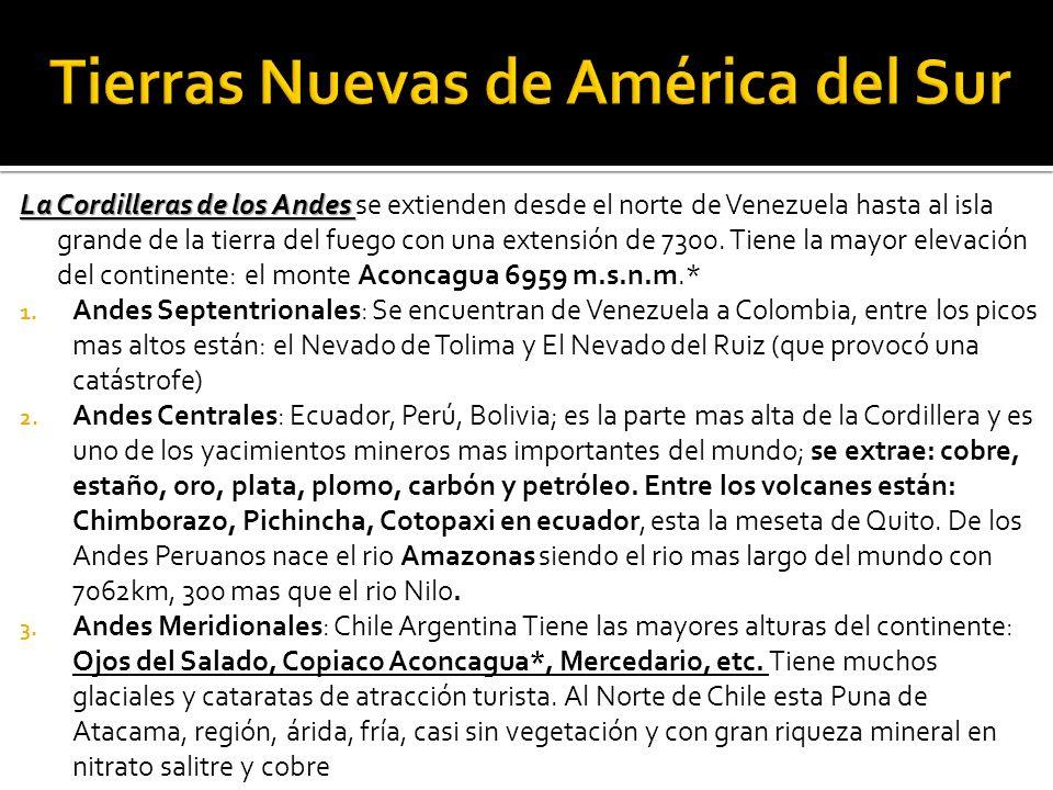La Cordilleras de los Andes La Cordilleras de los Andes se extienden desde el norte de Venezuela hasta al isla grande de la tierra del fuego con una extensión de 7300.