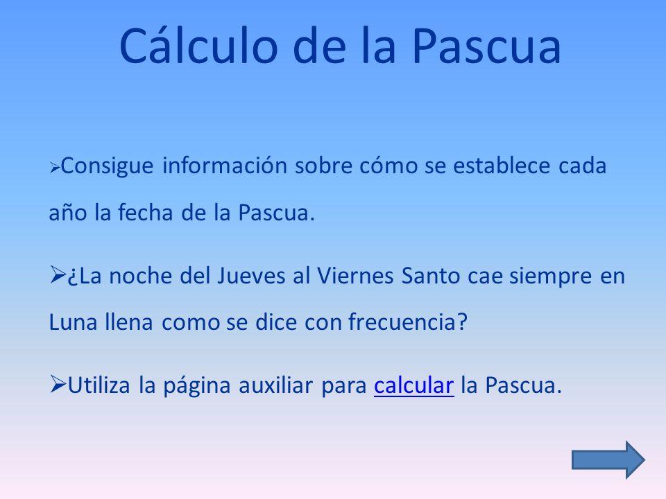 Cálculo de la Pascua Consigue información sobre cómo se establece cada año la fecha de la Pascua.