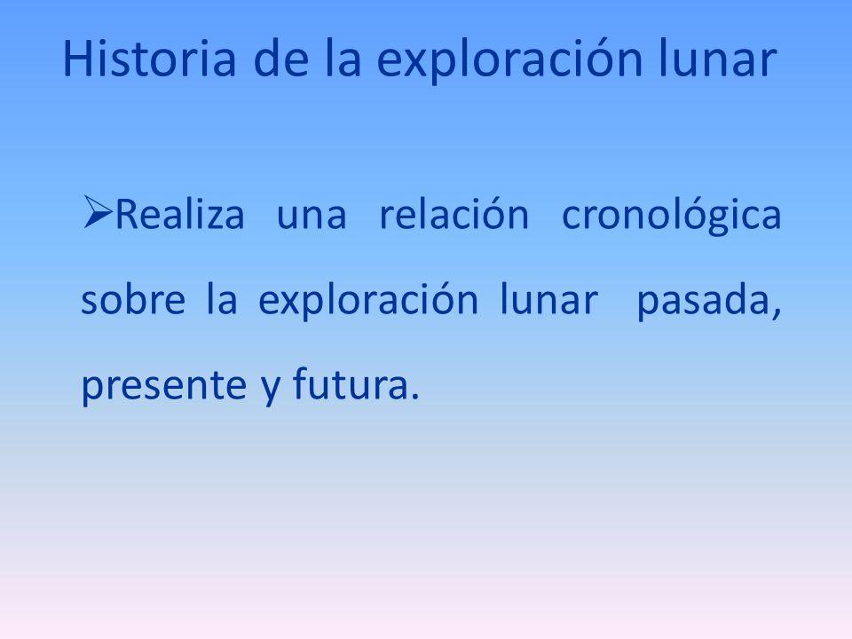 Historia de la exploración lunar Realiza una relación cronológica sobre la exploración lunar pasada, presente y futura.