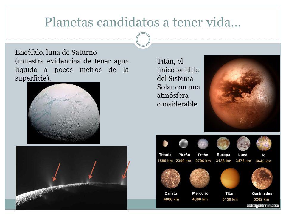 Planetas candidatos a tener vida… Encéfalo, luna de Saturno (muestra evidencias de tener agua líquida a pocos metros de la superficie). Titán, el únic