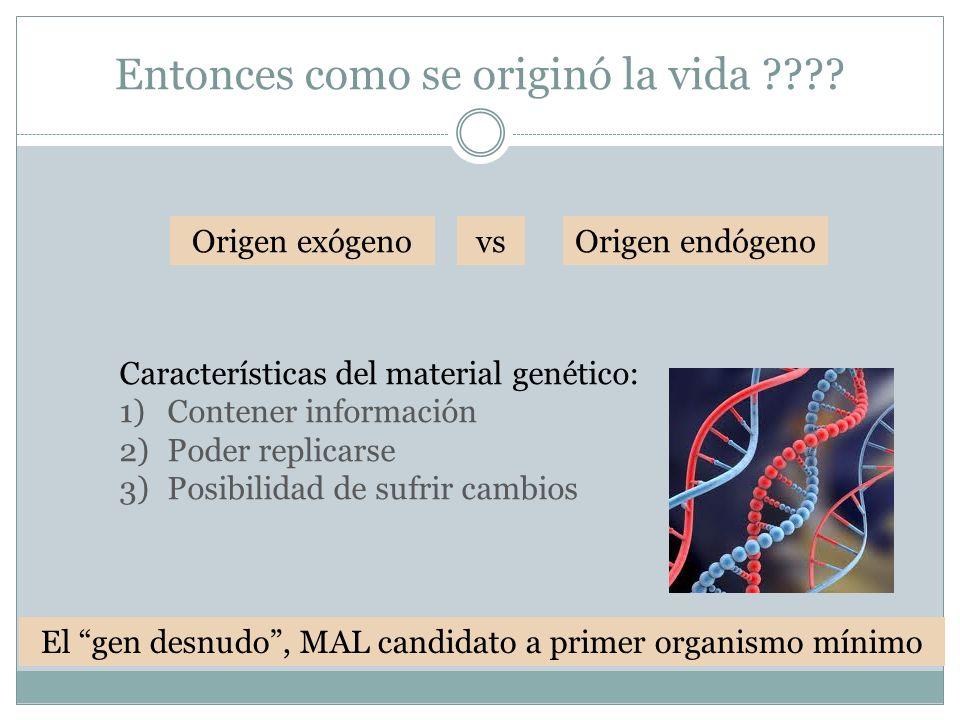 Entonces como se originó la vida ???? Origen endógeno Características del material genético: 1)Contener información 2)Poder replicarse 3)Posibilidad d