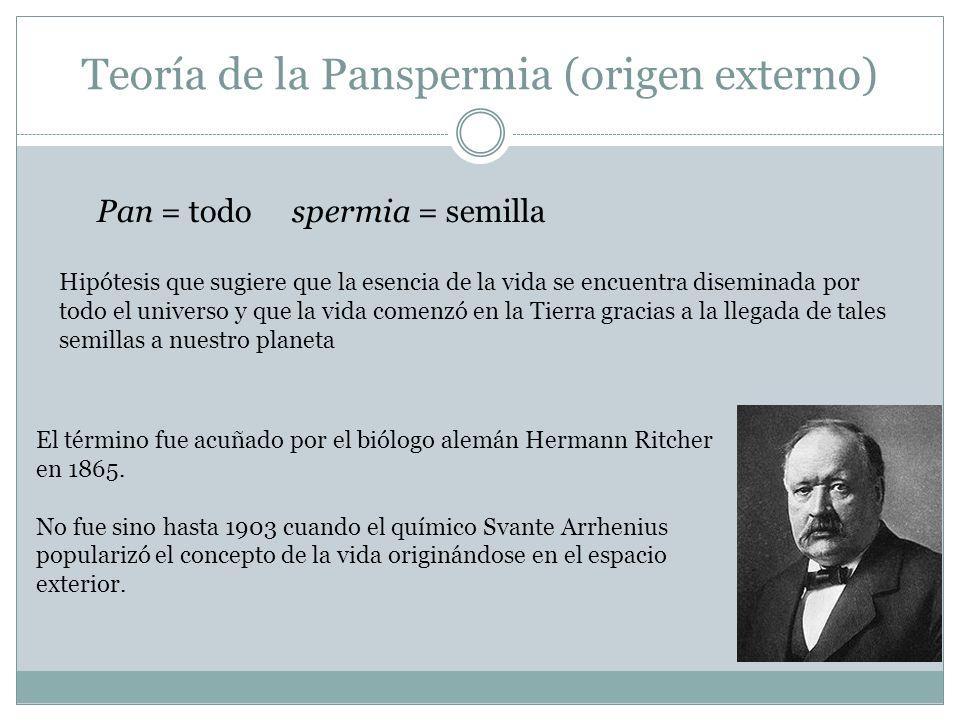 Teoría de la Panspermia (origen externo) Pan = todo spermia = semilla Hipótesis que sugiere que la esencia de la vida se encuentra diseminada por todo