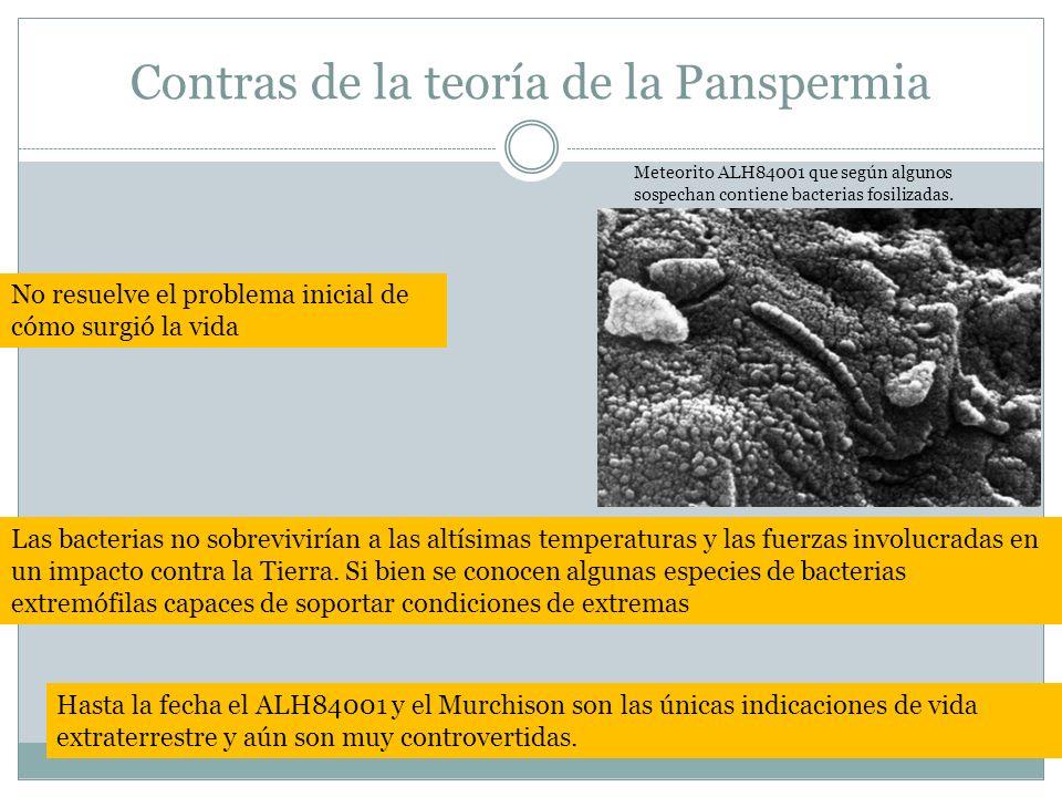 Contras de la teoría de la Panspermia Meteorito ALH84001 que según algunos sospechan contiene bacterias fosilizadas. No resuelve el problema inicial d
