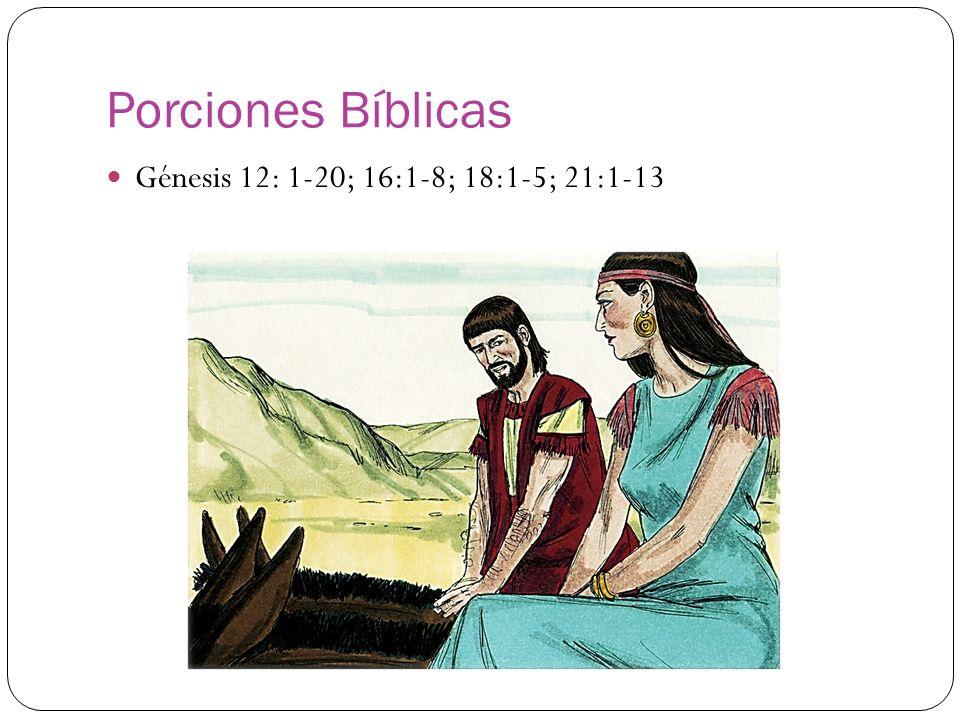 Porciones Bíblicas Génesis 12: 1-20; 16:1-8; 18:1-5; 21:1-13