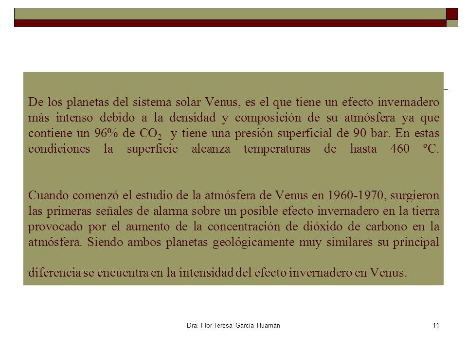 Dra. Flor Teresa García Huamán De los planetas del sistema solar Venus, es el que tiene un efecto invernadero más intenso debido a la densidad y compo