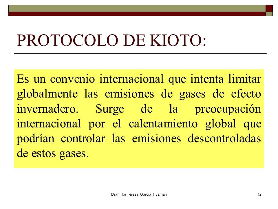 Dra. Flor Teresa García Huamán PROTOCOLO DE KIOTO: Es un convenio internacional que intenta limitar globalmente las emisiones de gases de efecto inver