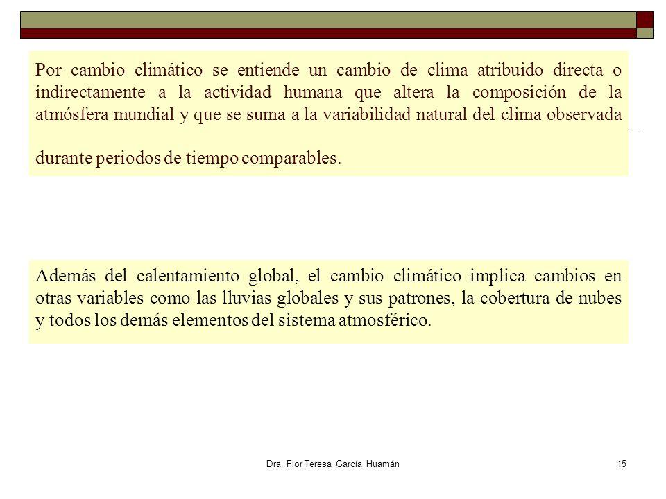Dra. Flor Teresa García Huamán Por cambio climático se entiende un cambio de clima atribuido directa o indirectamente a la actividad humana que altera