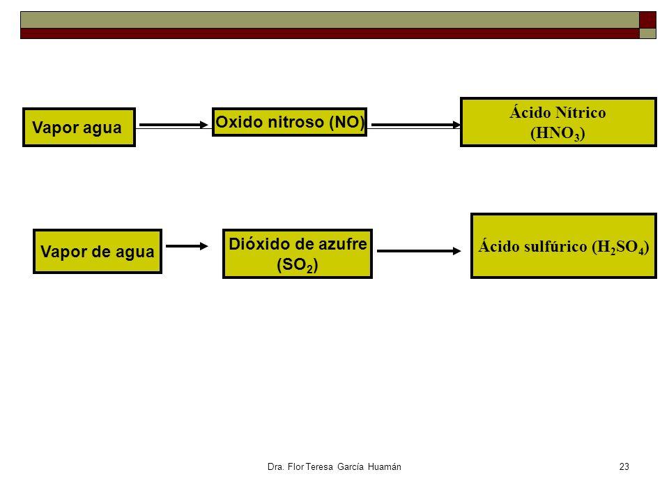 Dra. Flor Teresa García Huamán Vapor agua Oxido nitroso (NO) Ácido Nítrico (HNO 3 ) Vapor de agua Dióxido de azufre (SO 2 ) Ácido sulfúrico (H 2 SO 4