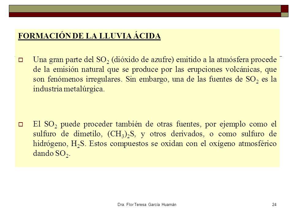Dra. Flor Teresa García Huamán FORMACIÓN DE LA LLUVIA ÁCIDA Una gran parte del SO 2 (dióxido de azufre) emitido a la atmósfera procede de la emisión n