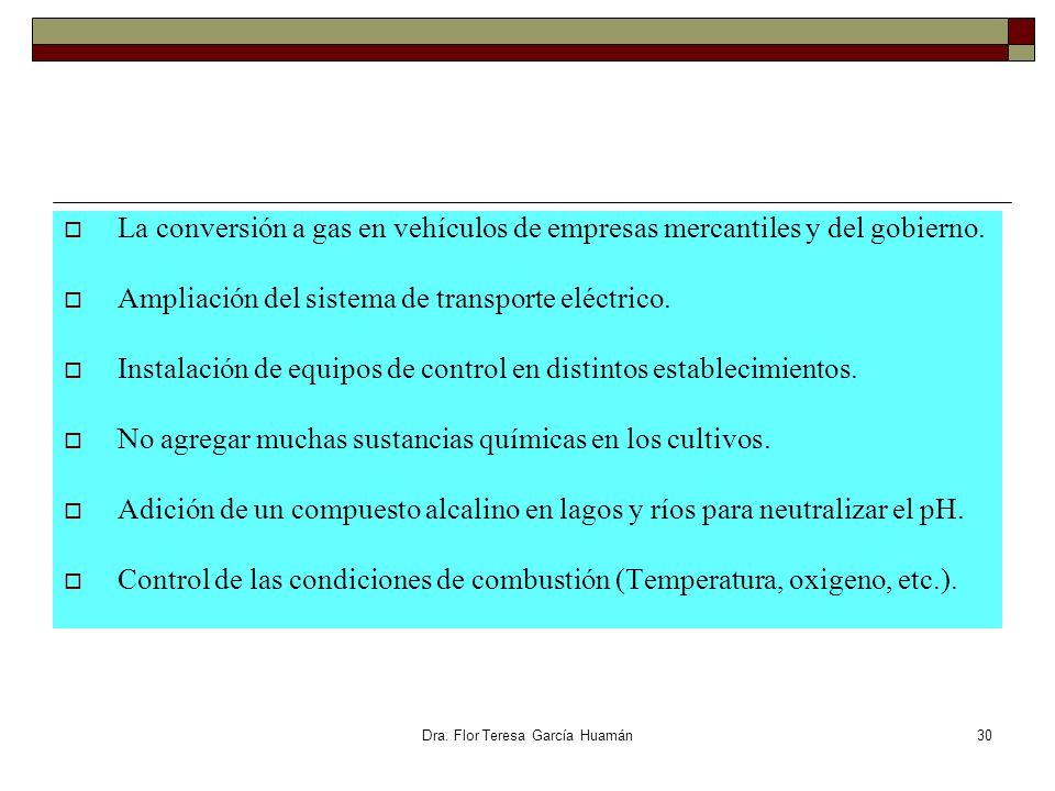 Dra. Flor Teresa García Huamán La conversión a gas en vehículos de empresas mercantiles y del gobierno. Ampliación del sistema de transporte eléctrico