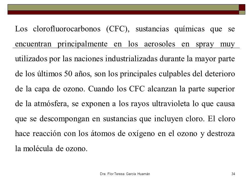 Los clorofluorocarbonos (CFC), sustancias químicas que se encuentran principalmente en los aerosoles en spray muy utilizados por las naciones industri