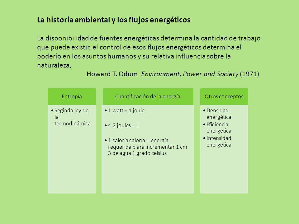 Entropía Seginda ley de la termodinámica Cuantificación de la energía 1 watt = 1 joule 4.2 joules = 1 1 caloría caloría = energía requerida p ara incrementar 1 cm 3 de agua 1 grado celsius Otros conceptos Densidad energética Eficiencia energética Intensidad energética La historia ambiental y los flujos energéticos La disponibilidad de fuentes energéticas determina la cantidad de trabajo que puede existir, el control de esos flujos energéticos determina el poderío en los asuntos humanos y su relativa influencia sobre la naturaleza, Howard T.