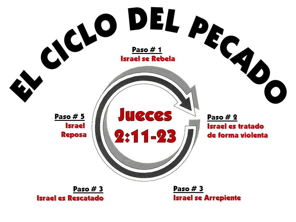 Paso # 1 Israel se Rebela Paso # 2 Israel es tratado de forma violenta Paso # 3 Israel se Arrepiente Paso # 3 Israel es Rescatado Paso # 5IsraelReposa