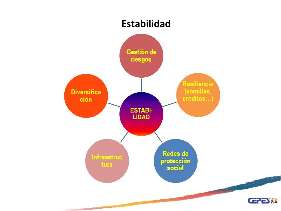 ESTABI- LIDAD Gestión de riesgos Resiliencia (semillas, creditos…) Redes de protección social Infraestruc tura Diversifica ciòn Estabilidad