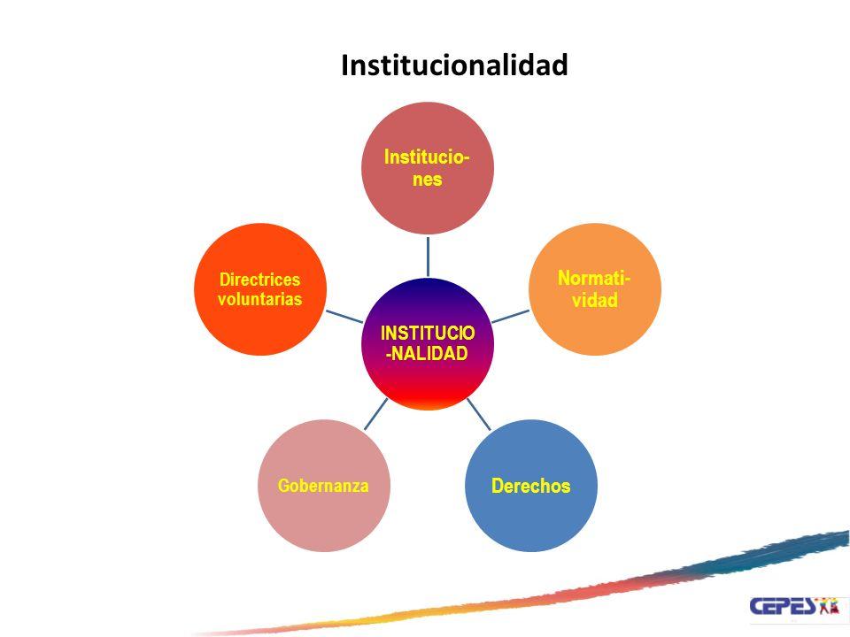 INSTITUCIO -NALIDAD Institucio- nes Normati- vidad Derechos Gobernanza Directrices voluntarias Institucionalidad