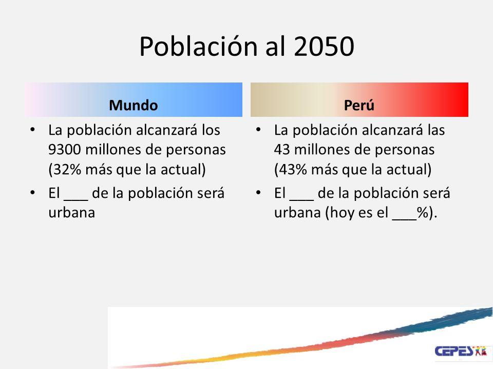 Población al 2050 Mundo La población alcanzará los 9300 millones de personas (32% más que la actual) El ___ de la población será urbana Perú La poblac