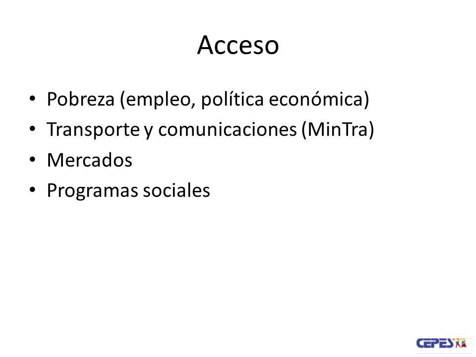 Acceso Pobreza (empleo, política económica) Transporte y comunicaciones (MinTra) Mercados Programas sociales